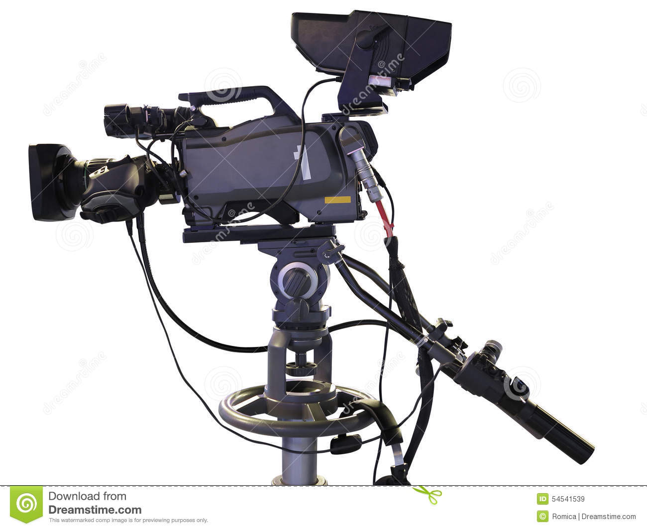 tv professional studio digital video camera isolated on white stock image image of camera. Black Bedroom Furniture Sets. Home Design Ideas