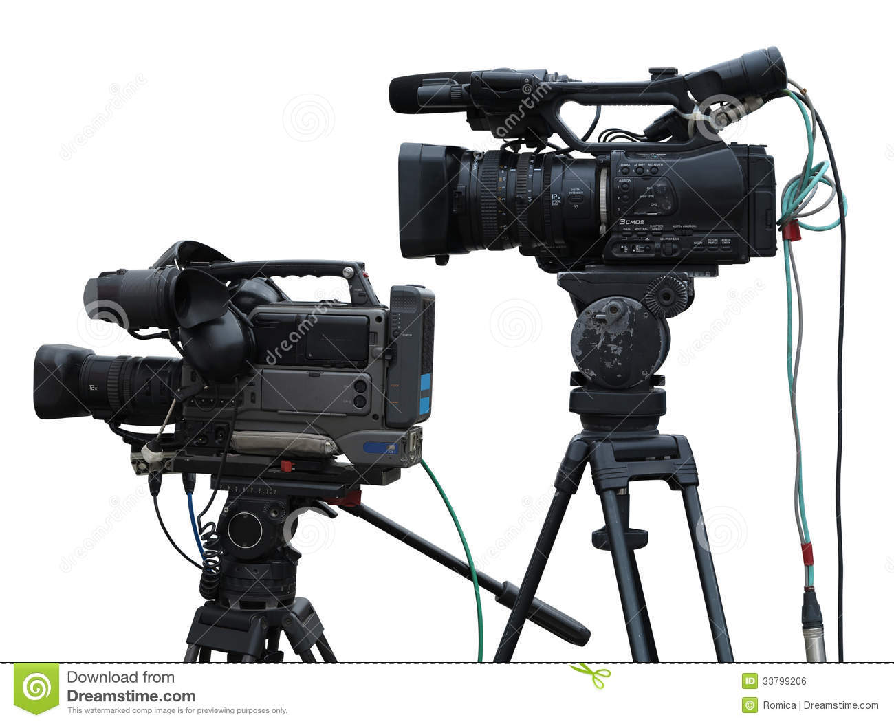 TV Professional Studio Digital Video Cameras Isolated On White Royalty ...