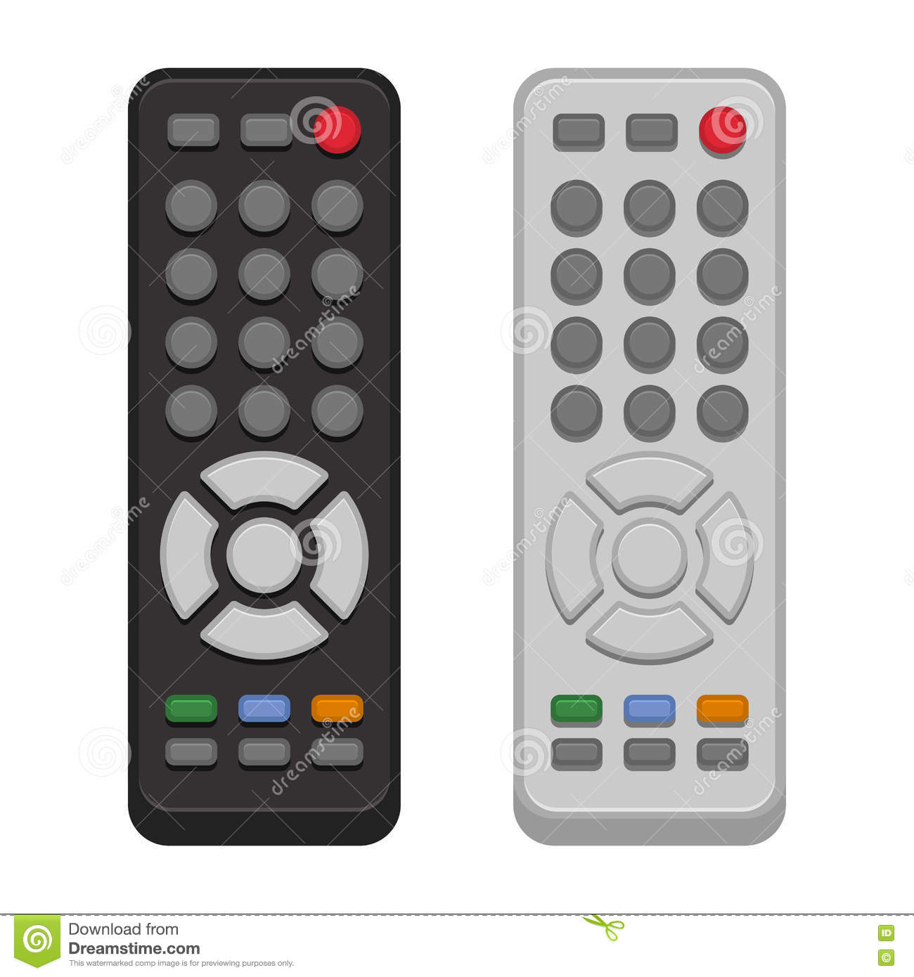 TV Remote Control Set on White Background. Vector