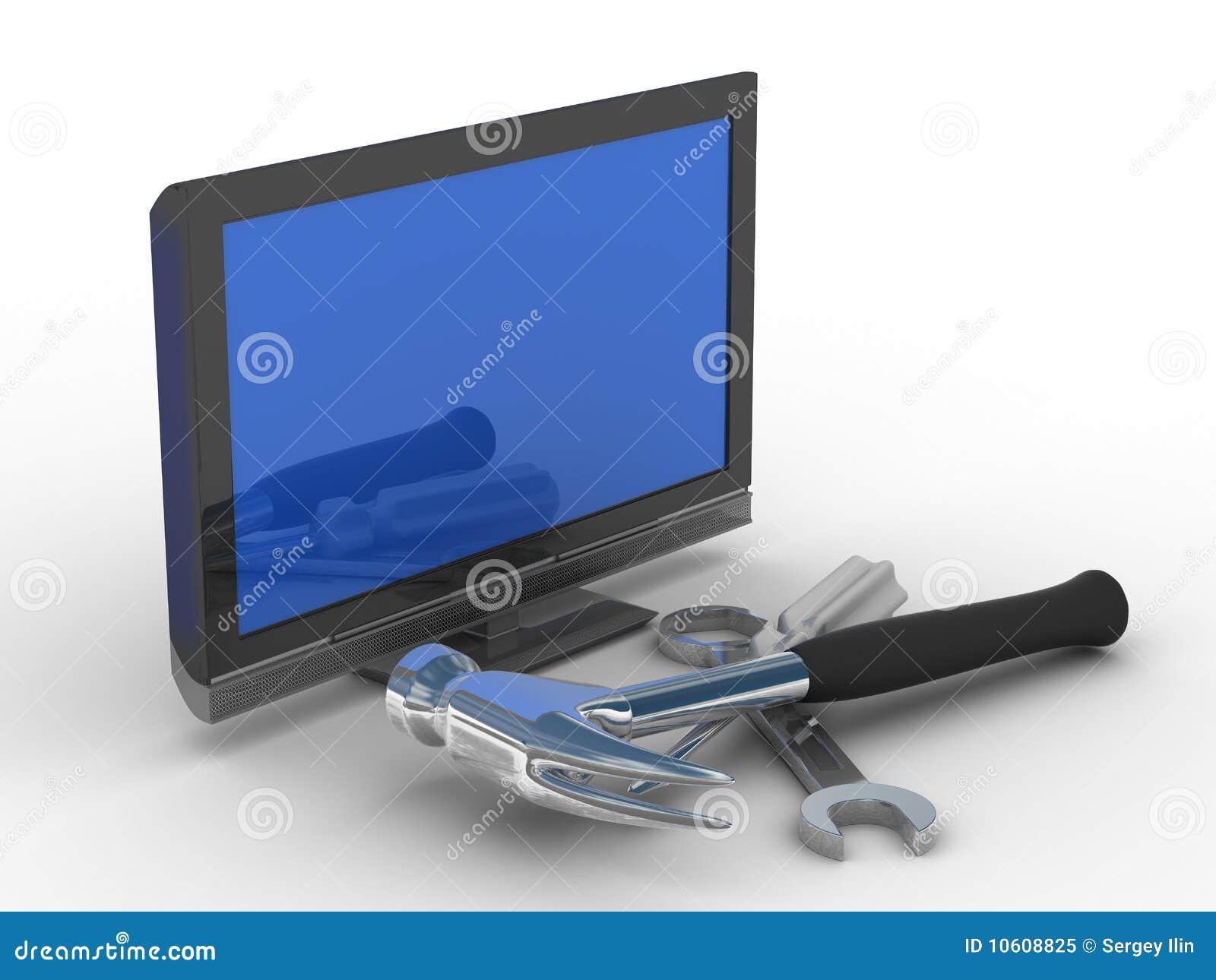Television Repair Service : Tv repair technical service stock illustration