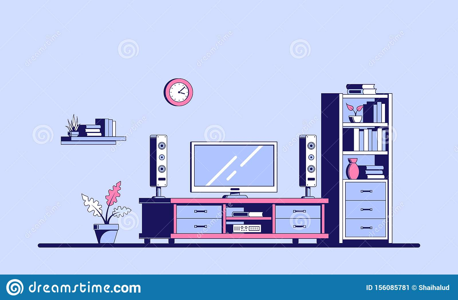 Tv Room Design Stock Vector Illustration Of Home Cottage 156085781