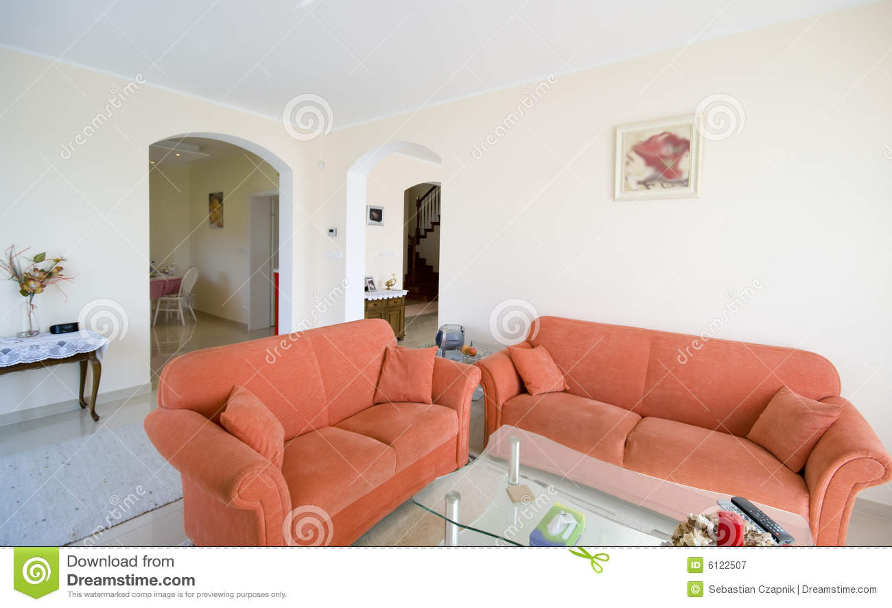 Tv Room With Orange Sofas Royalty Free Stock Photography