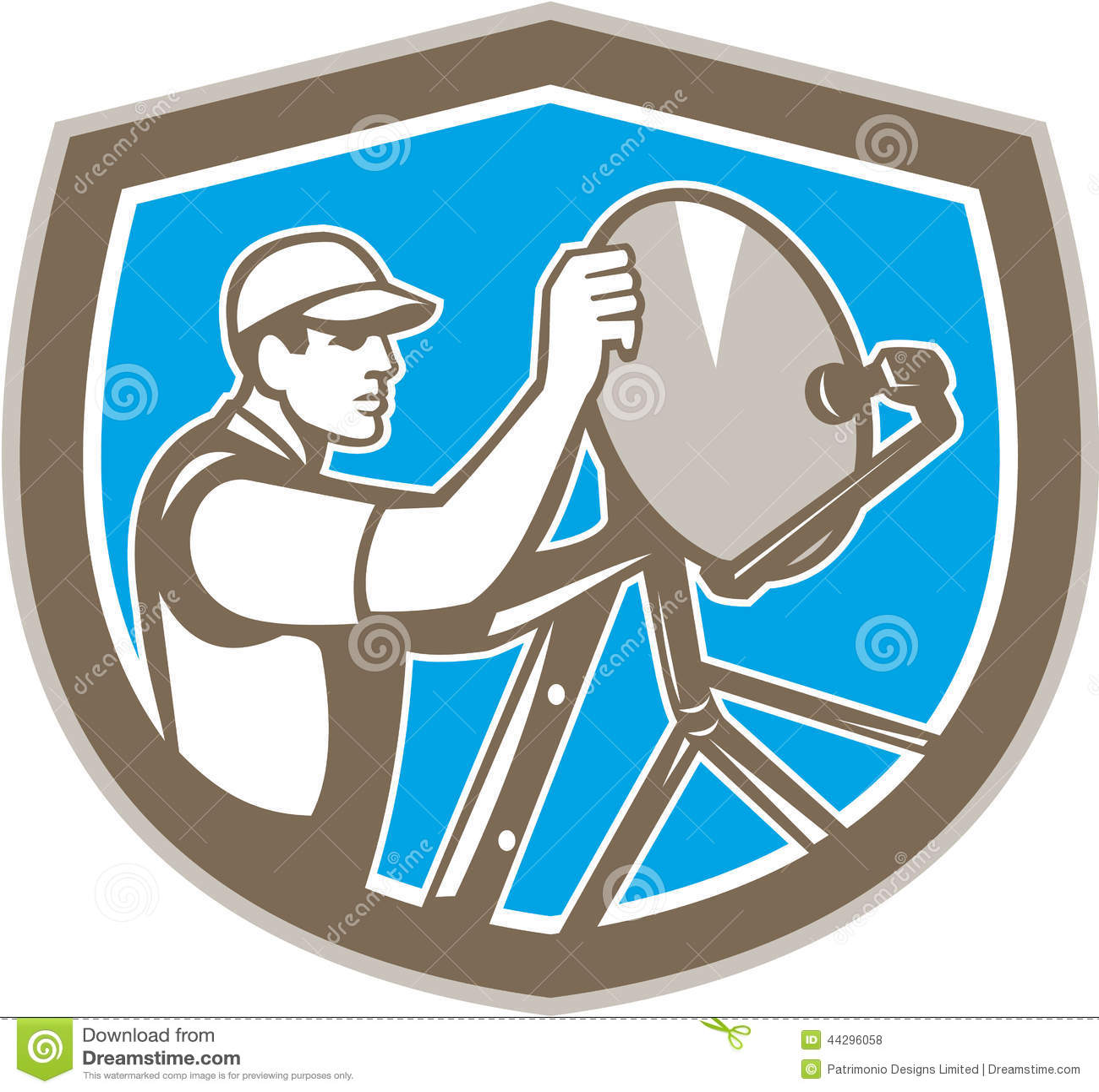 TV Satellite Dish Installer Shield Retro Vector Image – Satellite Dish Technician