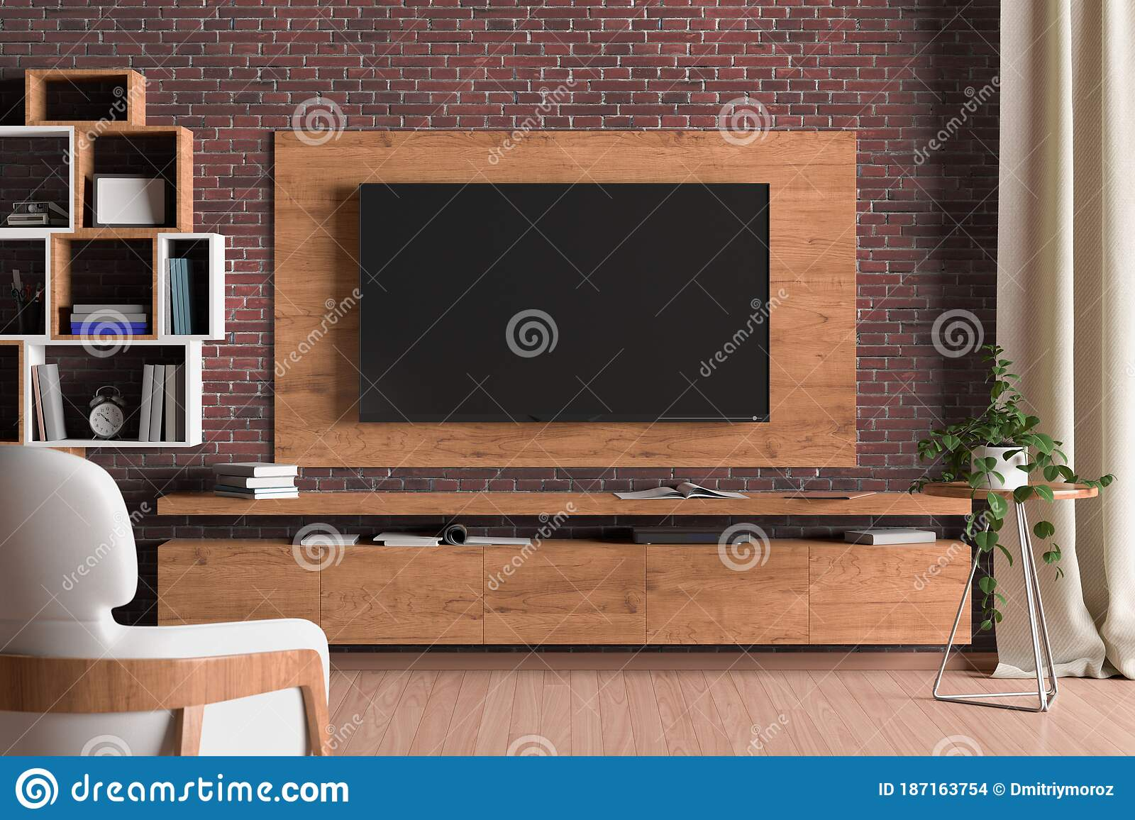 TV Screen On The Wall With Wooden Plate Above The Cabinet In ...