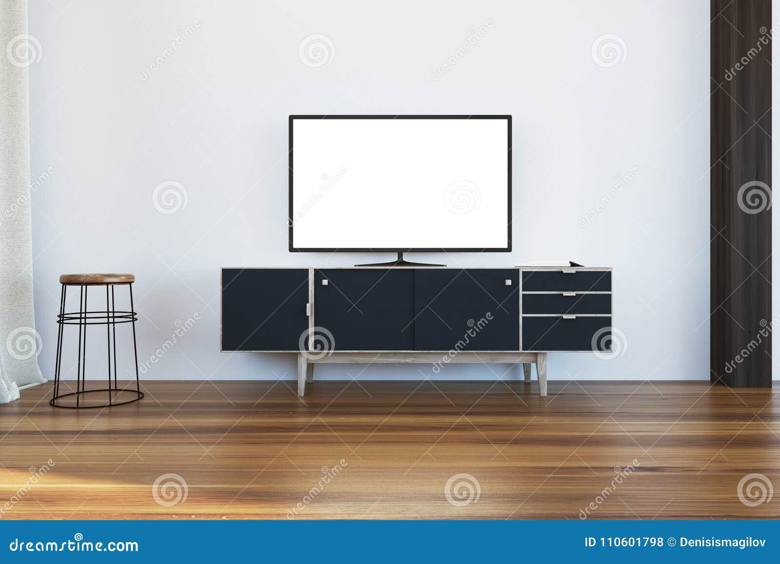 TV Set On A Black Cabinet In Living Room Stock Illustration ...