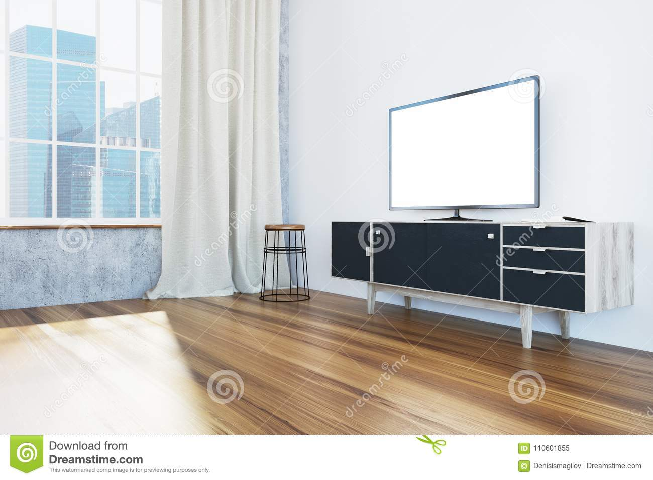 TV Set On A Black Cabinet Living Room, Side View Stock ...