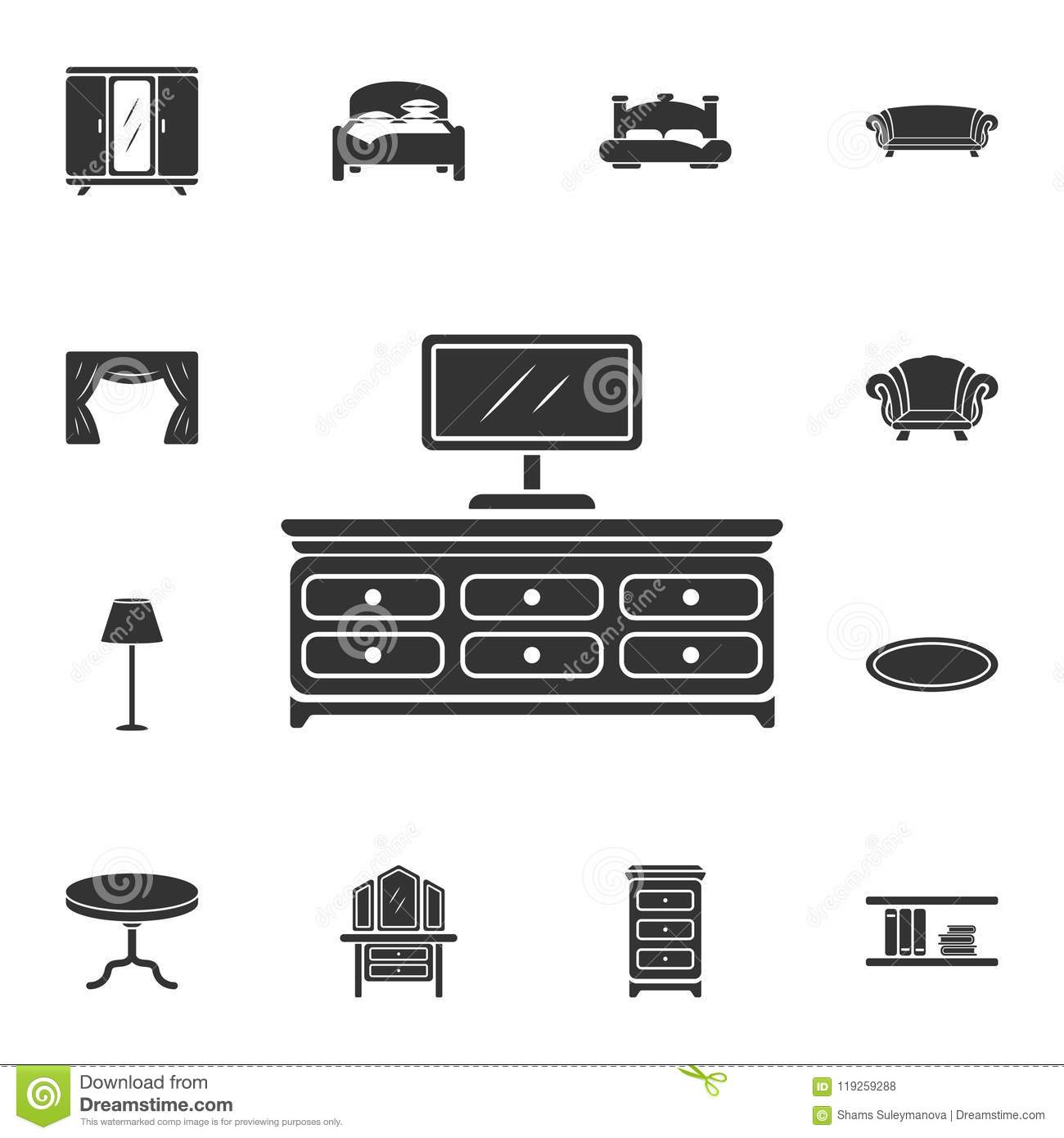 Tv shelf icon. Simple element illustration. Tv shelf symbol design from Home Furniture collection set. Can be used for web and mob