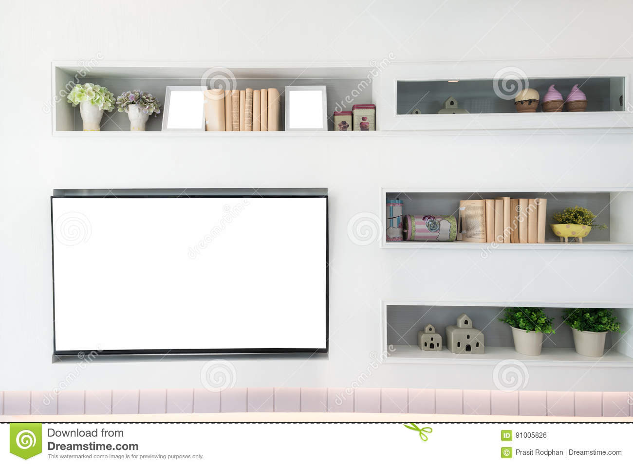 Tv and shelf in living room contemporary style wood furniture i stock photo