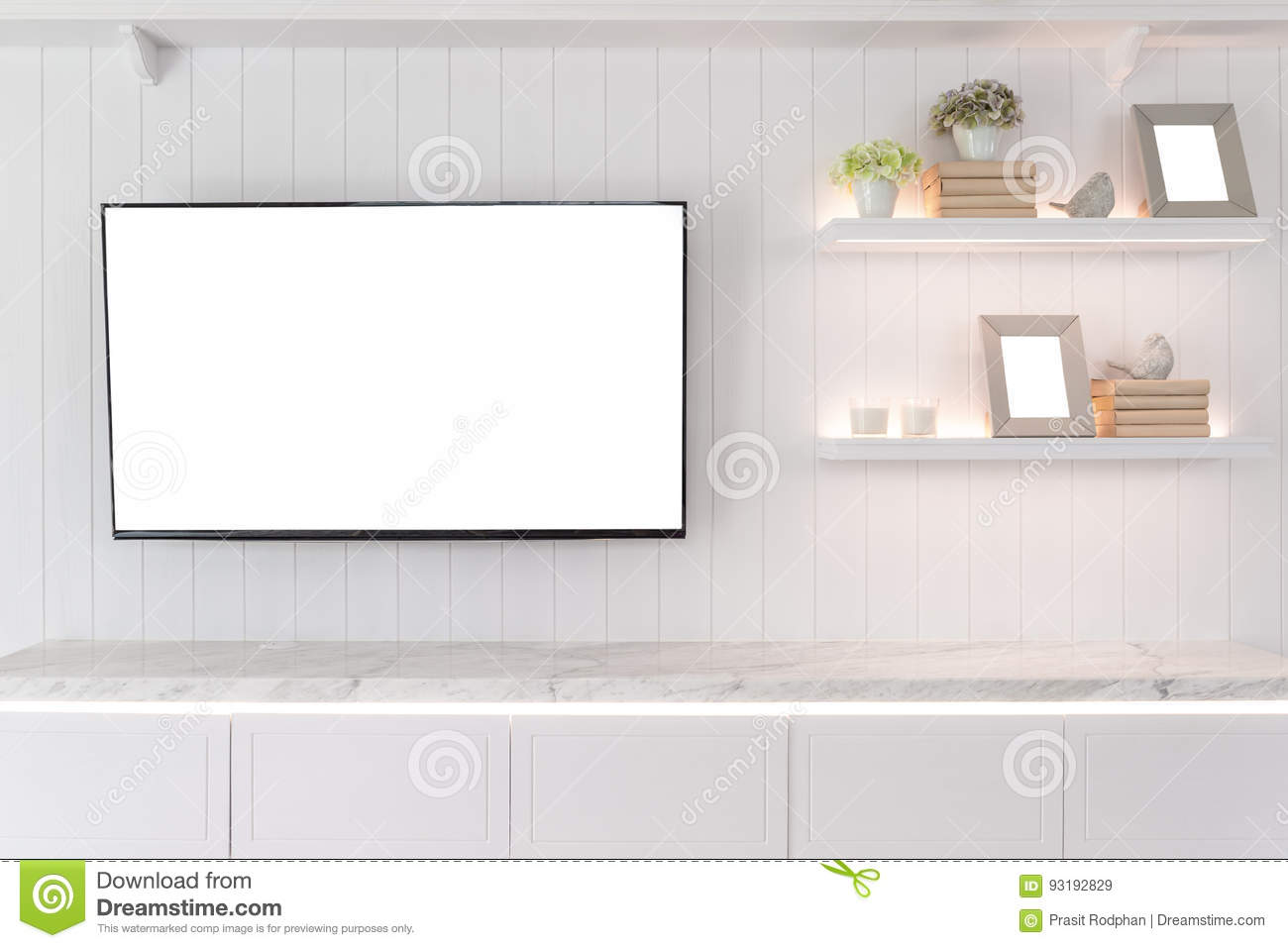Tv and shelf in living room contemporary style wood furniture i