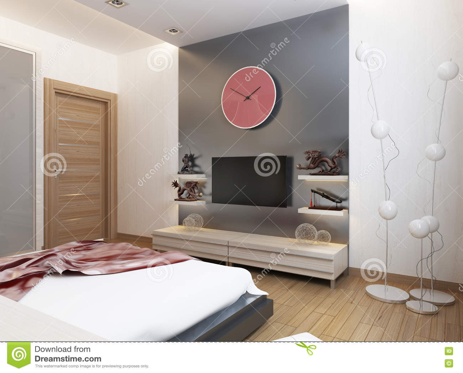 Tv shelves and a cupboard under the tv in the bedroom - Camera da letto con tv ...