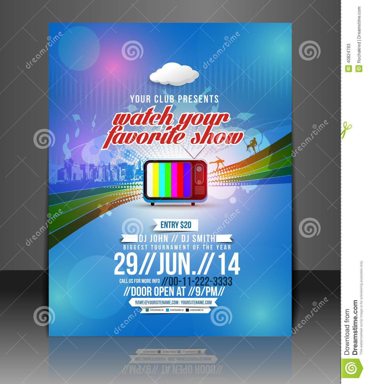 tv show party flyer stock vector