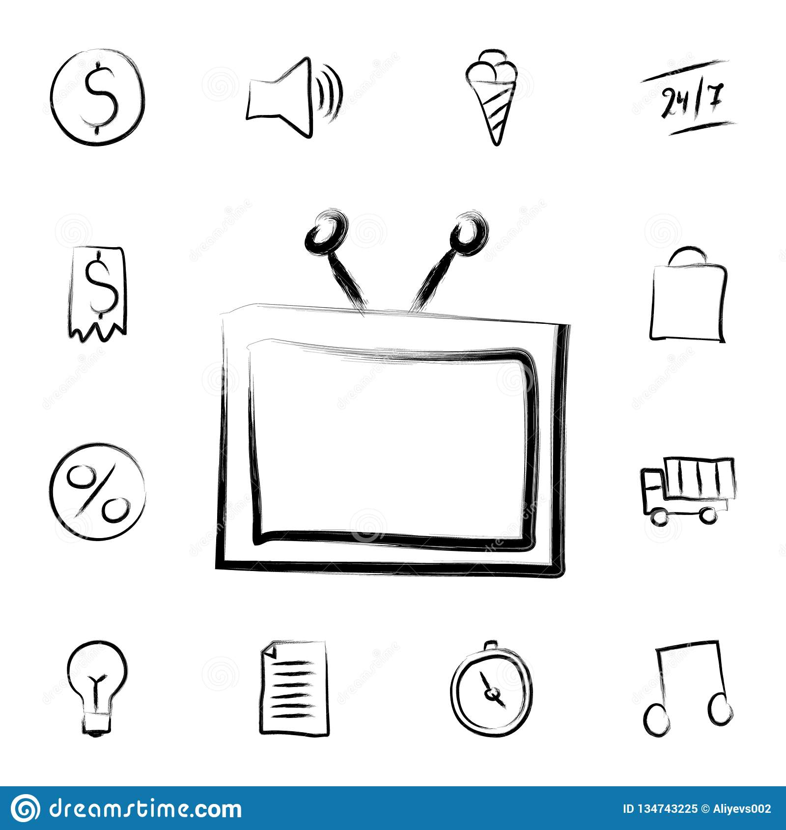 TV sketch style icon. Detailed set of banking in sketch style icons. Premium graphic design. One of the collection icons for
