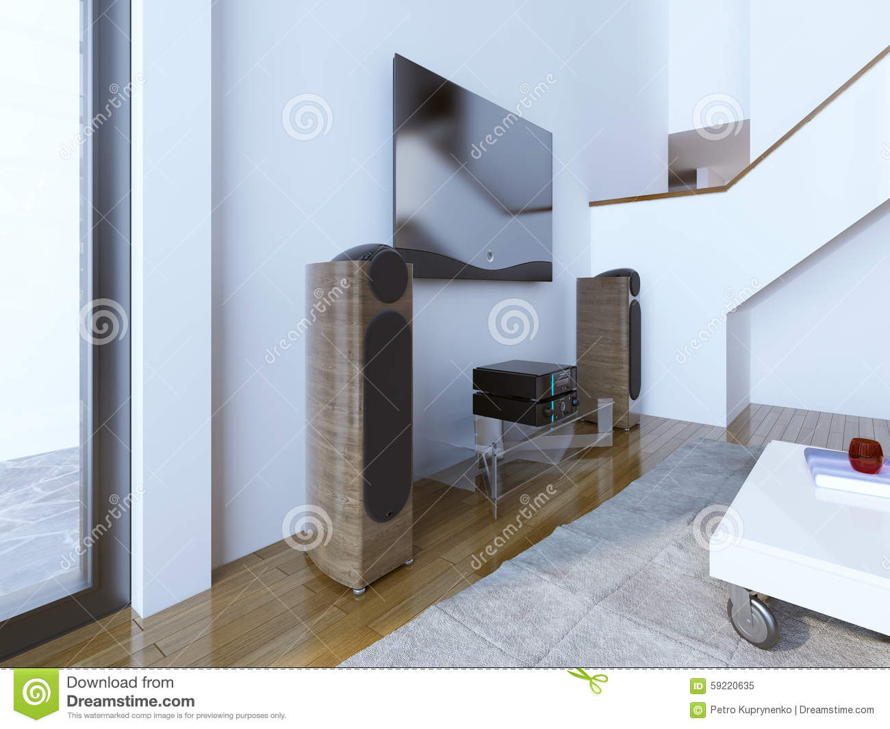 TV And Sound System At Modern Living Room Stock Photo