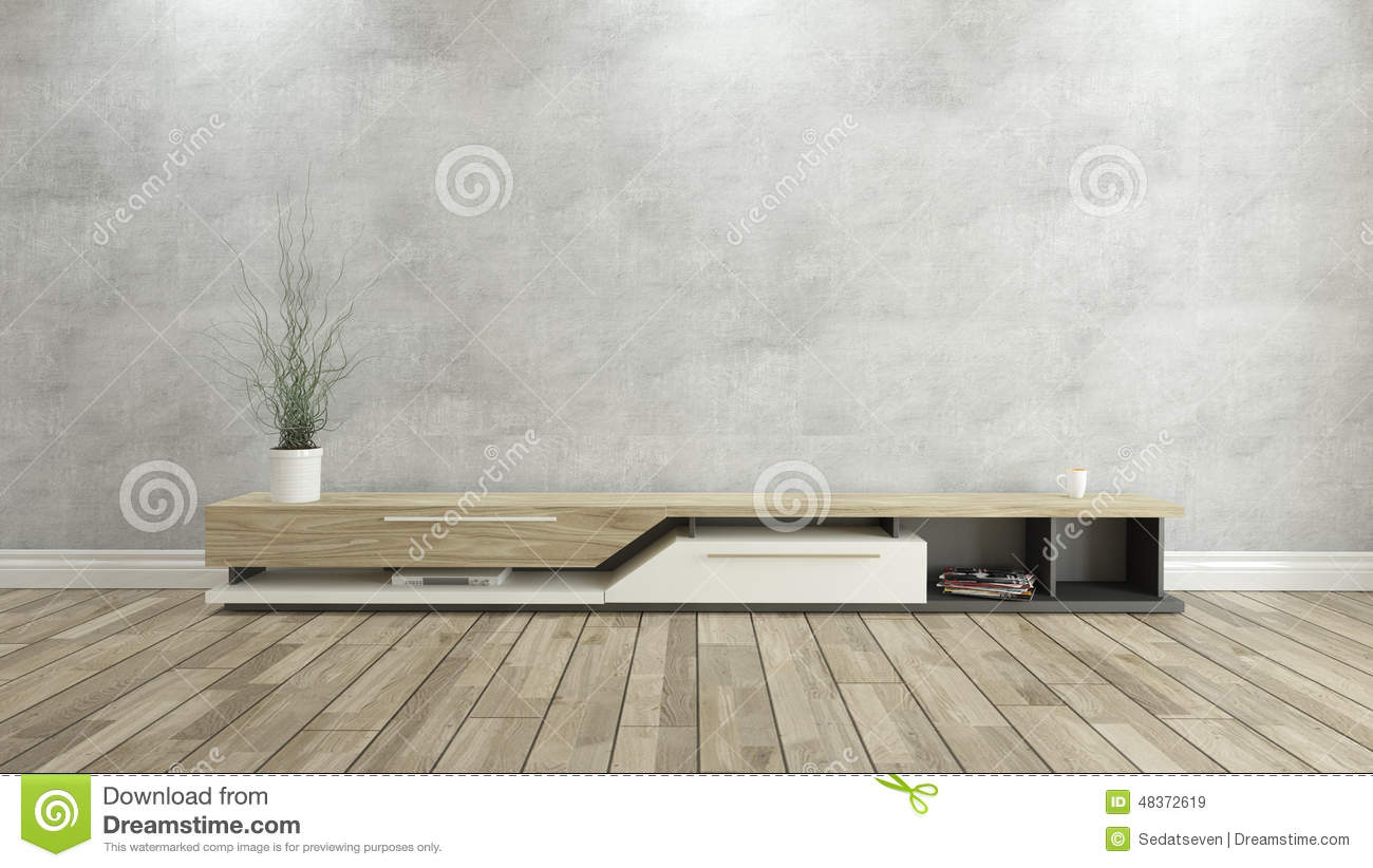 Tv Stand With Concrete Wall 3d Design Rendering Stock