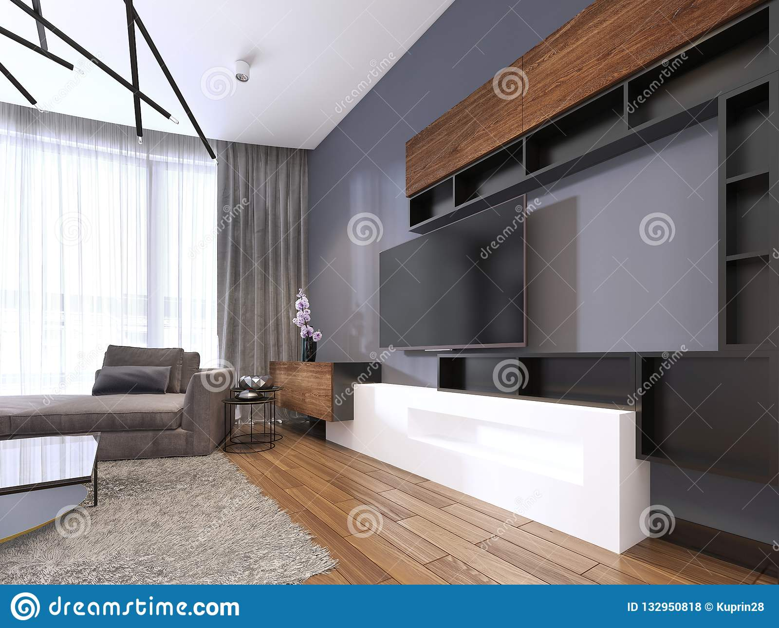 Tv Storage With Shelves In Modern Living Room With Corner Big Sofa