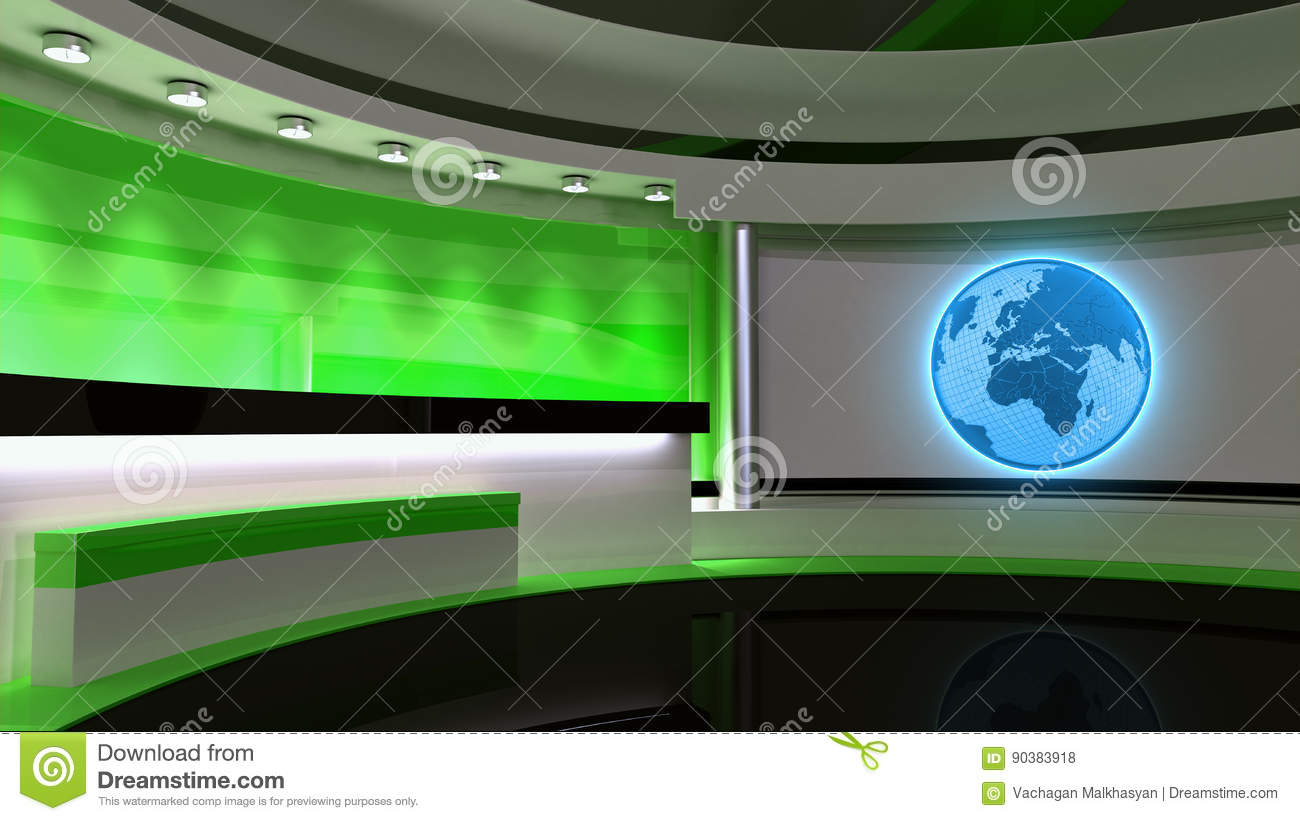 Tv Studio News Green The Perfect Backdrop For Any Screen Or Chroma Key Video Photo Production 3D Rendering