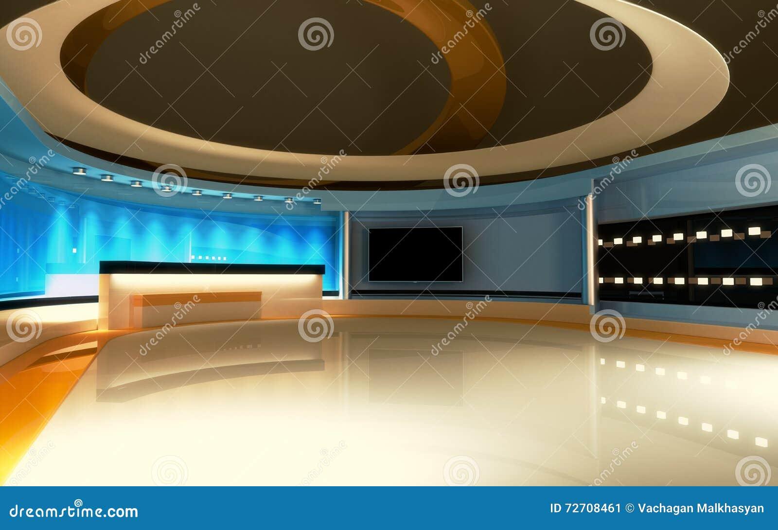 Tv studio nieuwsstudio studioreeks stock illustratie illustratie