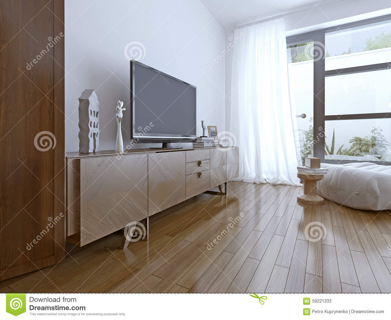 Tv Table On High-tech Bedroom Stock Image - Image of bench ...