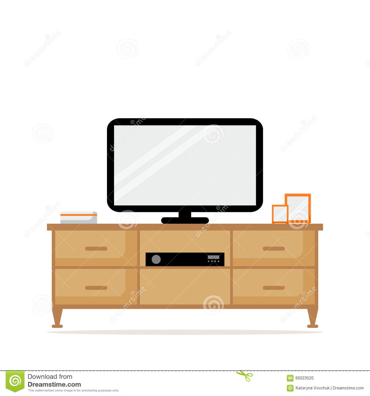 Furniture Ideas For Living Room Stock Vector: TV Table With TV Set Isolated Icon. TV Set With Tuner