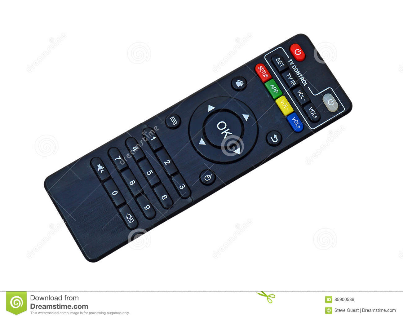 TV Television Remote Control Isolated With PNG File Stock Image
