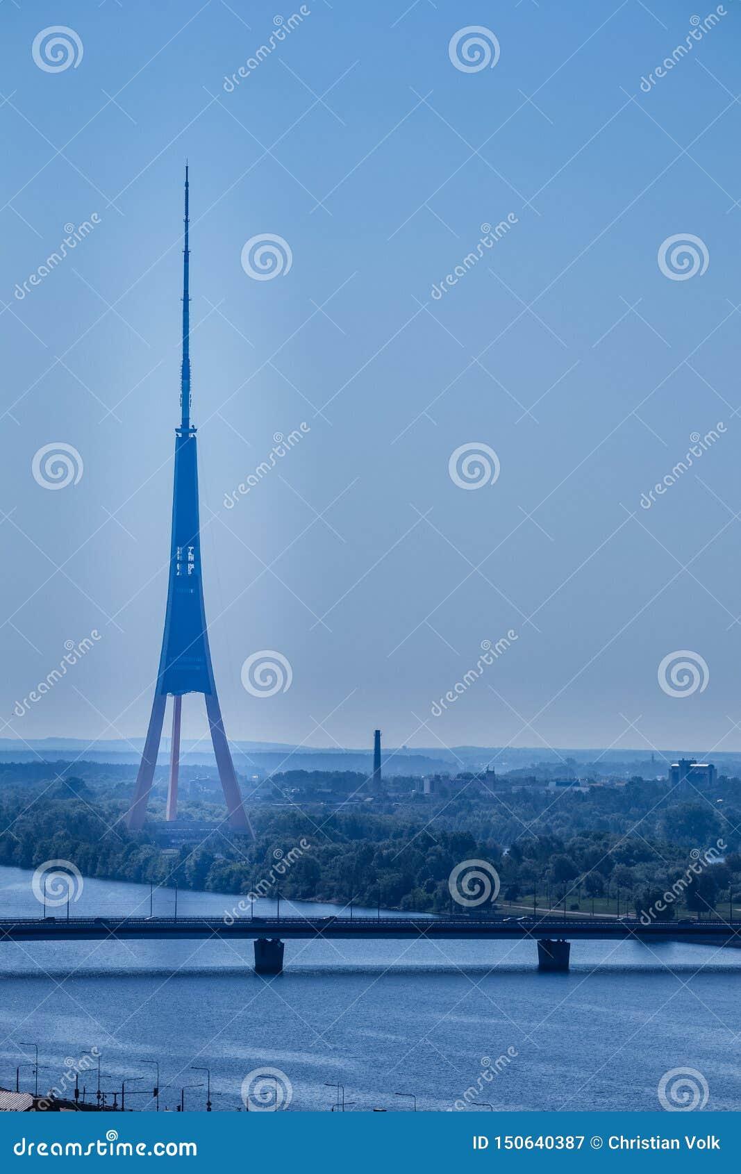 The TV tower of Riga, Latvia.