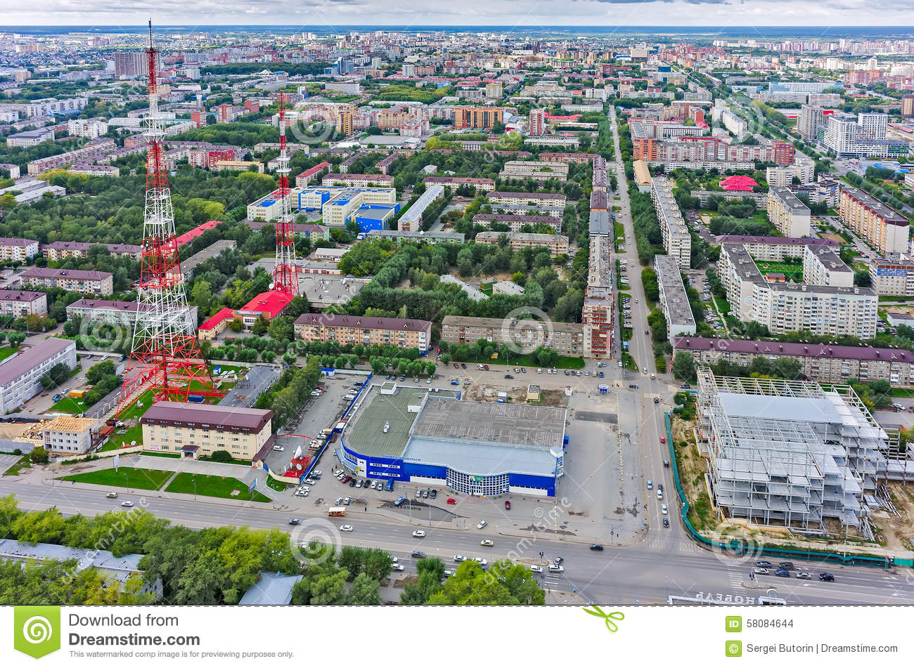 Tyumen Russia  city pictures gallery : Tyumen, Russia August 9, 2015: Bird's eye view on TV tower and ...
