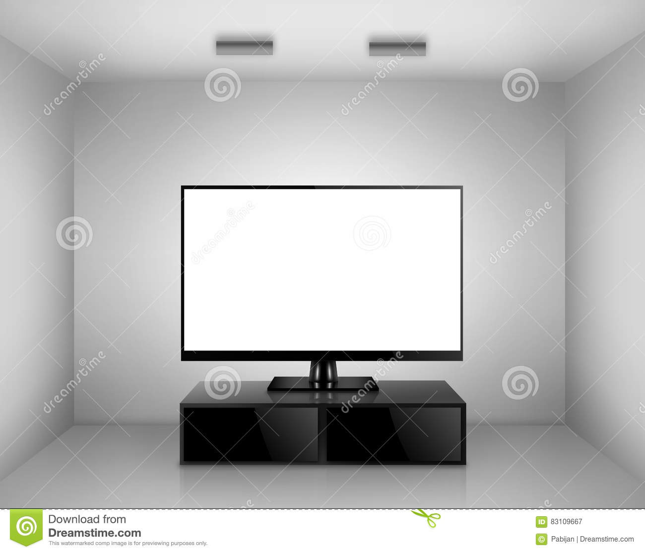 TV with TV stand in a room stock illustration. Illustration of ...
