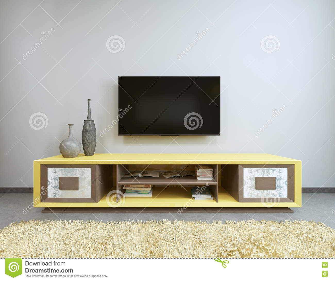 tv unit in living room with yellow tv on the wall stock tv unit in living room with yellow tv on the wall stock illustration