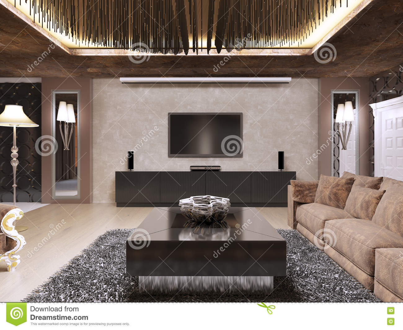 stylish living room tv stand unit modern design with luxury   TV Unit In Luxury Living Room Designed In Modern Style ...