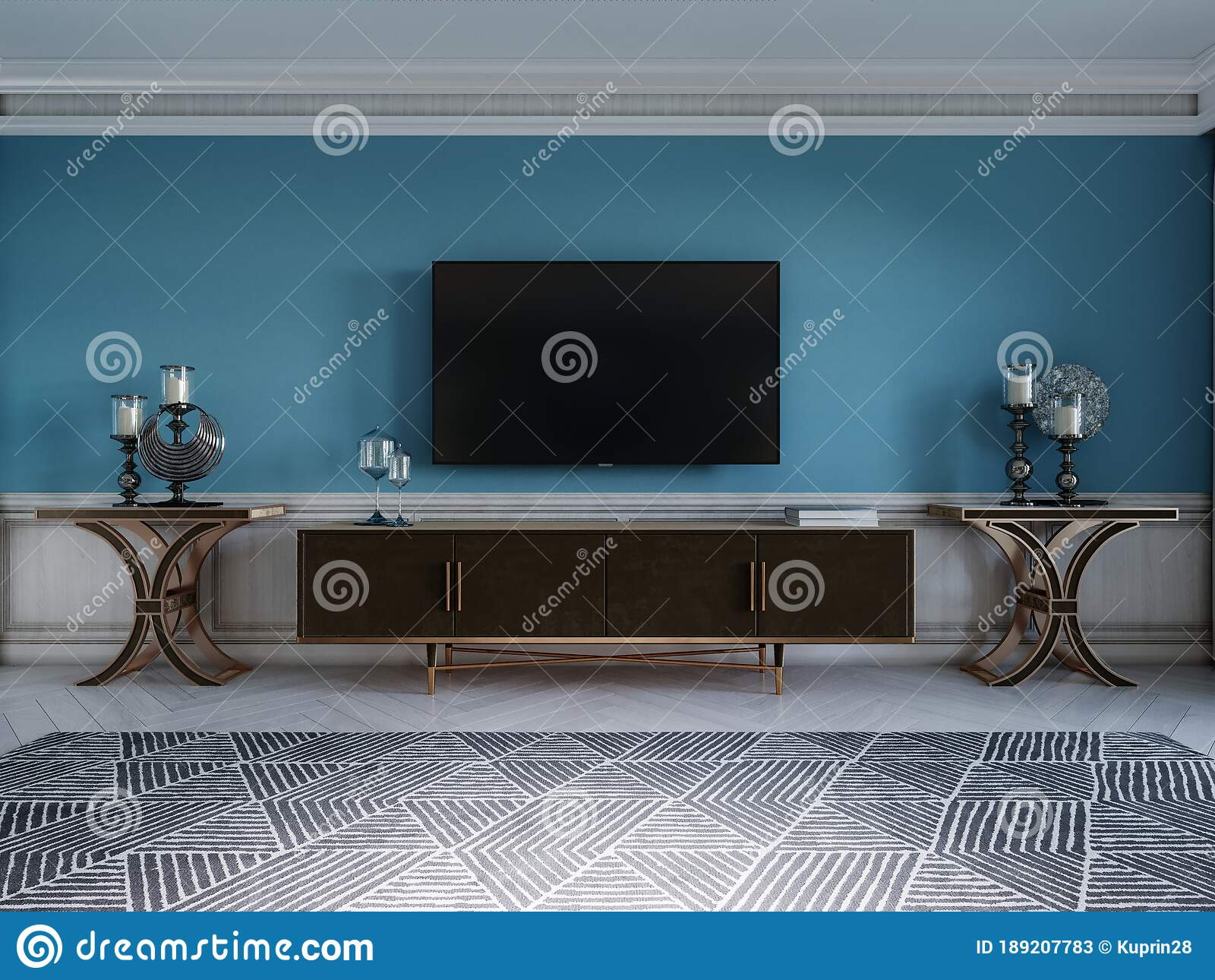 Tv Unit Tv Set In A Modern Living Room In A Classic Style With Blue Walls Black Tv Cabinet Console Table With Interior Decor Stock Illustration Illustration Of Lifestyle Decor 189207783