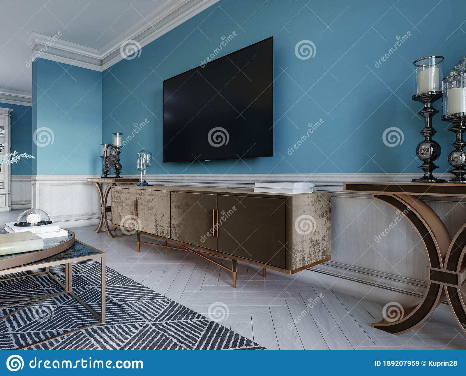 Tv Unit Tv Set In A Modern Living Room In A Classic Style With Blue Walls Black Tv Cabinet Console Table With Interior Decor Stock Illustration Illustration Of Flooring Apartment 189207959
