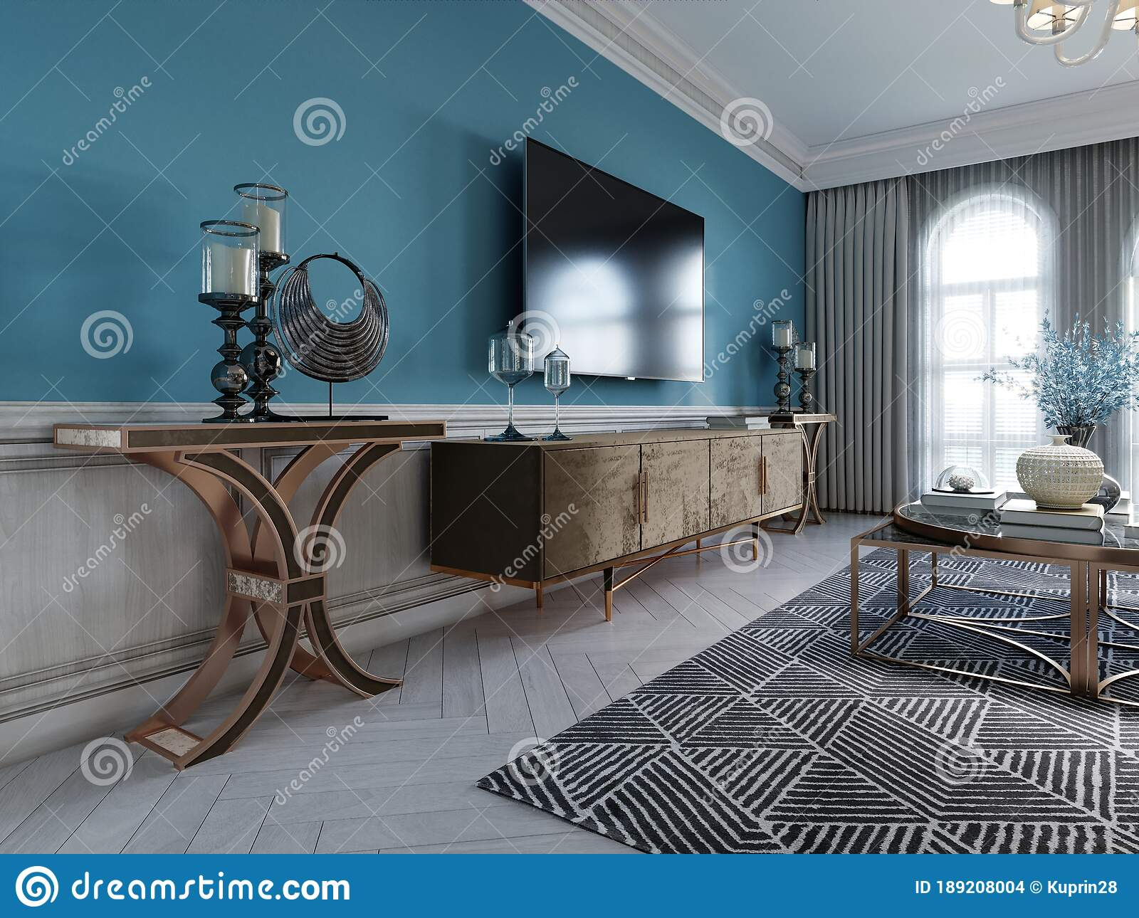Tv Unit Tv Set In A Modern Living Room In A Classic Style With Blue Walls Black Tv Cabinet Console Table With Interior Decor Stock Illustration Illustration Of Living Furniture 189208004