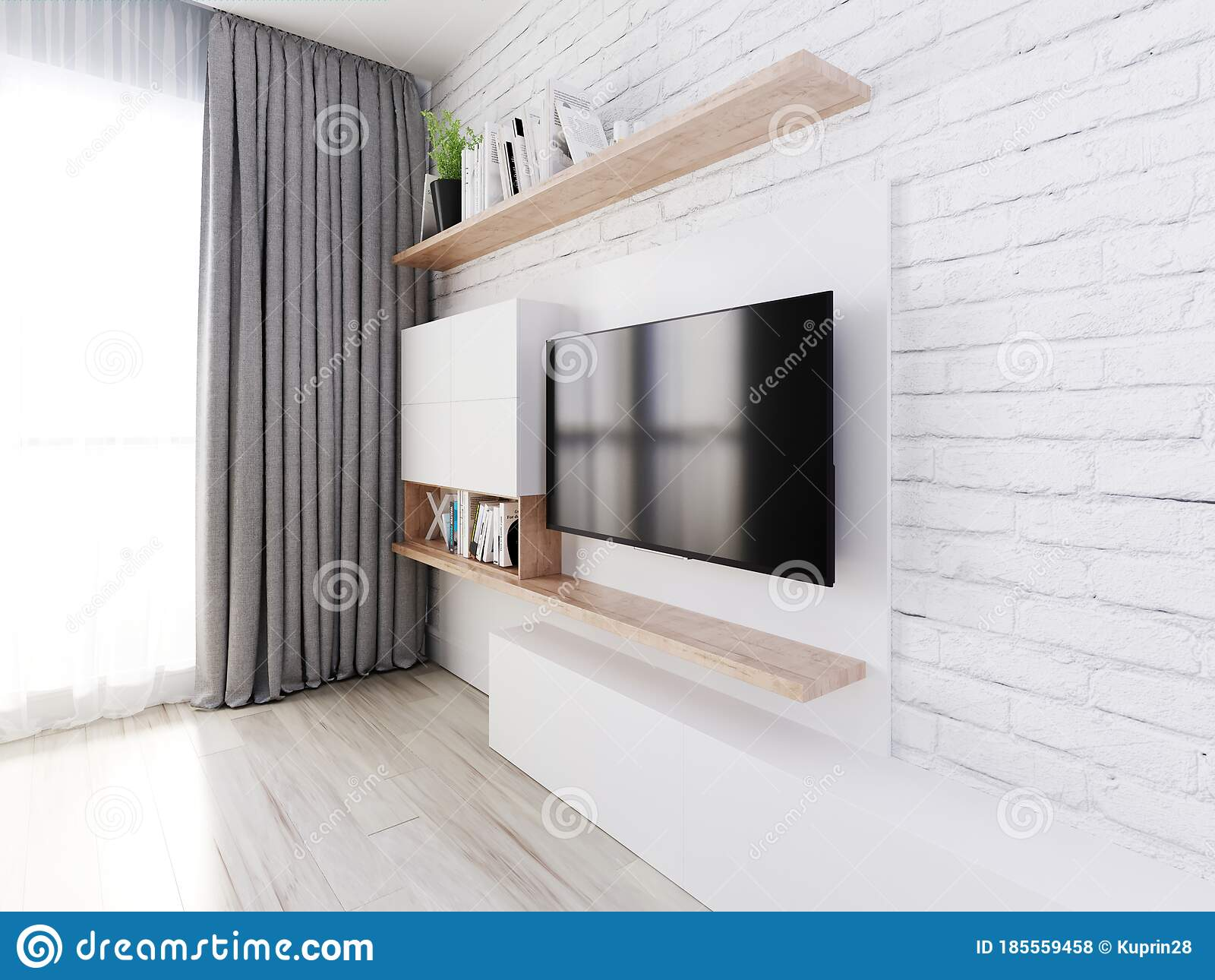 A Tv Unit Tv Wall Tv Set With A Tv And Bookshelves White Decorative Brick Wall Wood Texture And Matt White Lockers Stock Illustration Illustration Of Cabinet Decorative 185559458
