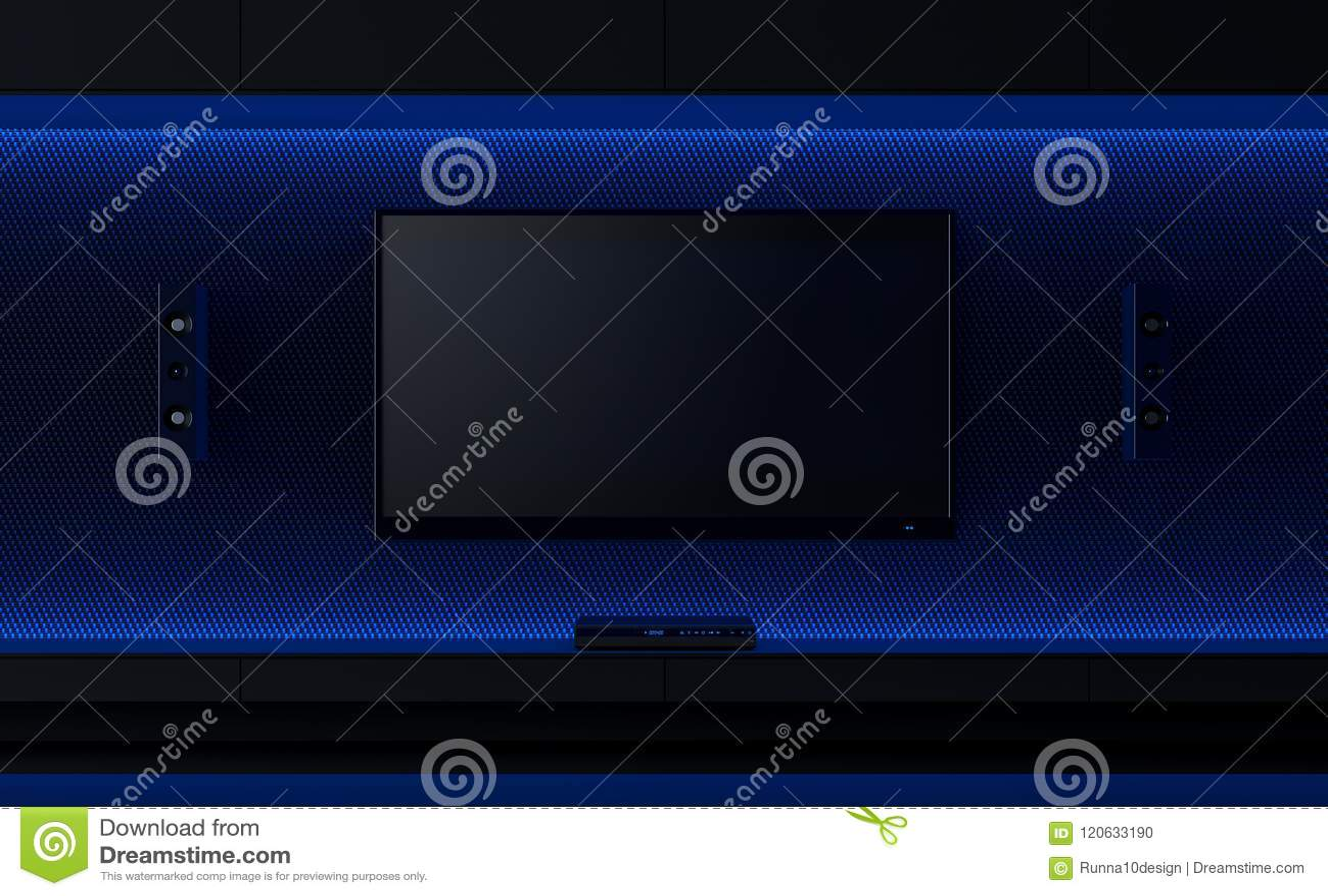 Tv Wall Design Idea 3d Render Stock Illustration Illustration Of Didgtal Minimalist 120633190