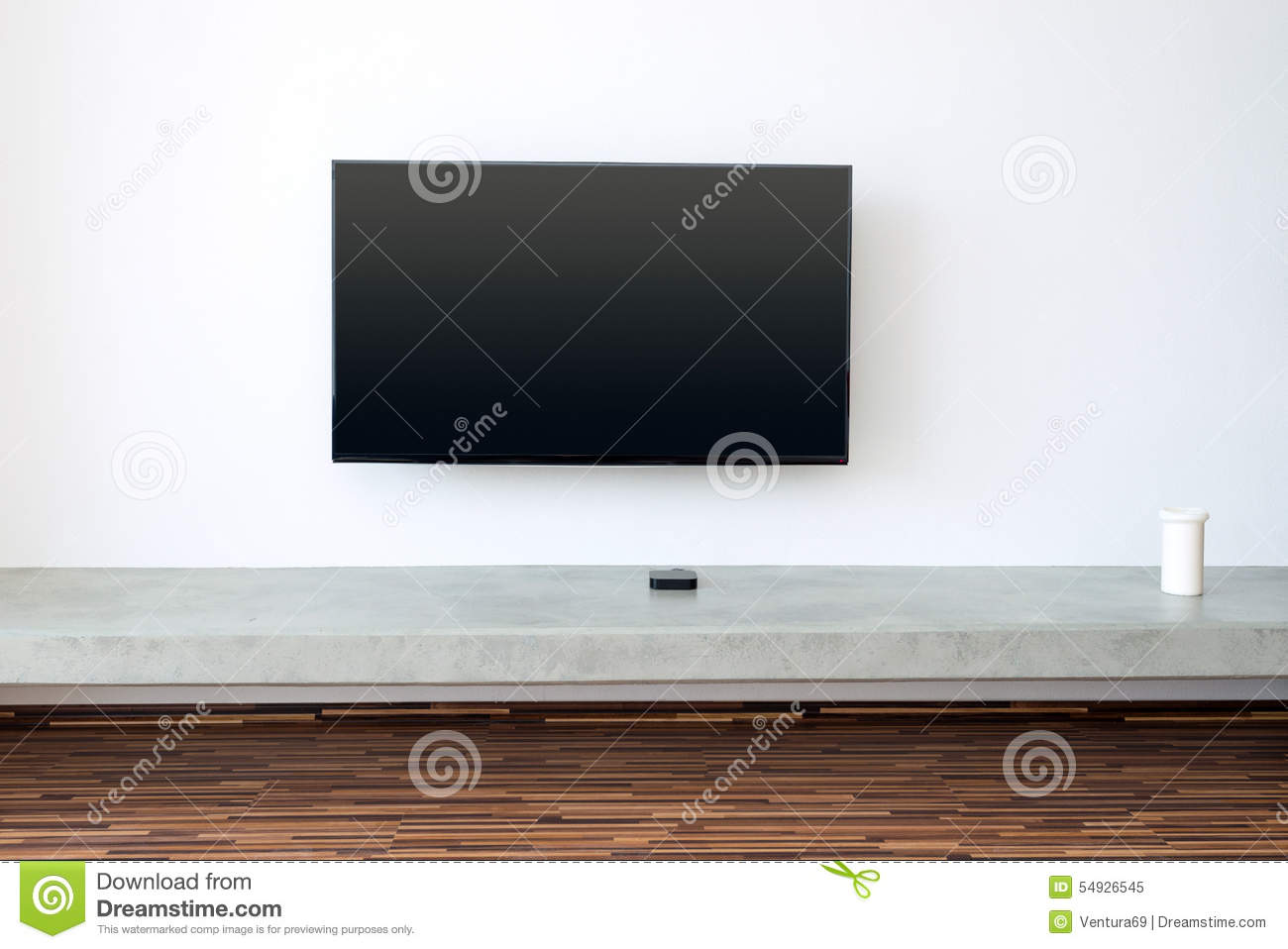 Tv on white wall in living room stock photo image 54926545 Living room flat screen wall design