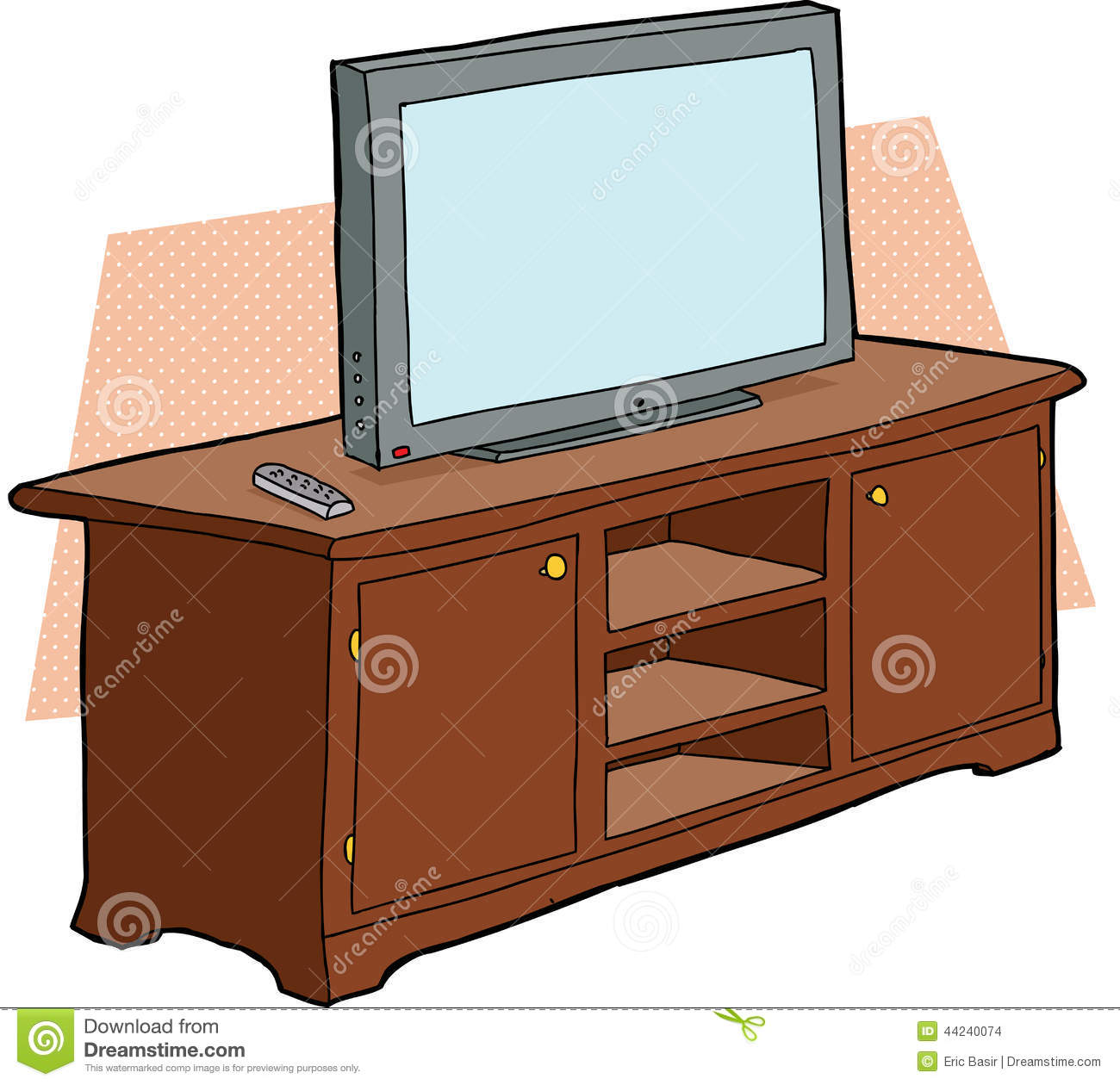 TV On Wooden Console Stock Vector - Image: 44240074