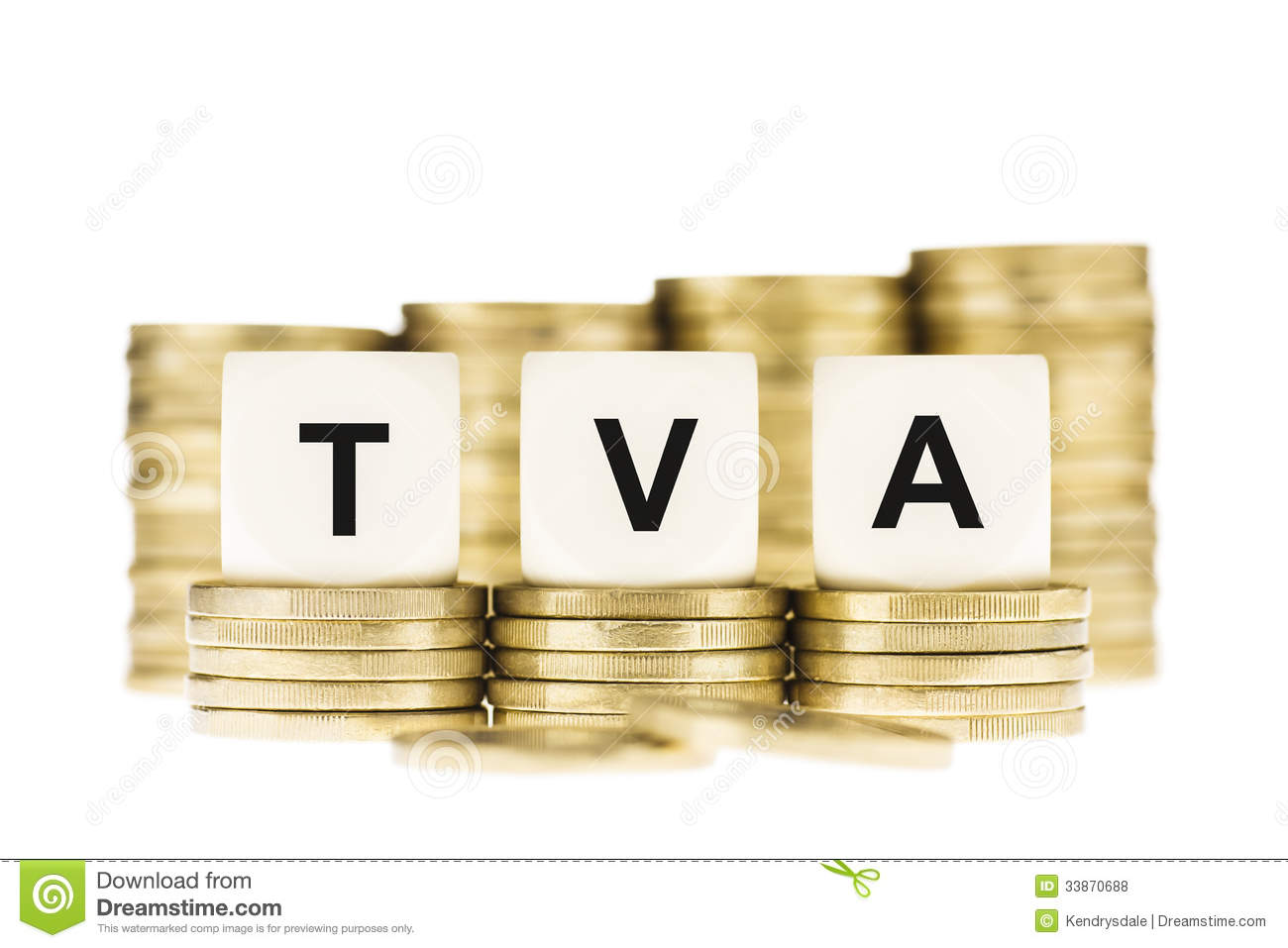 TVA (Value Added Tax) on Piles of Gold Coins with a White Background