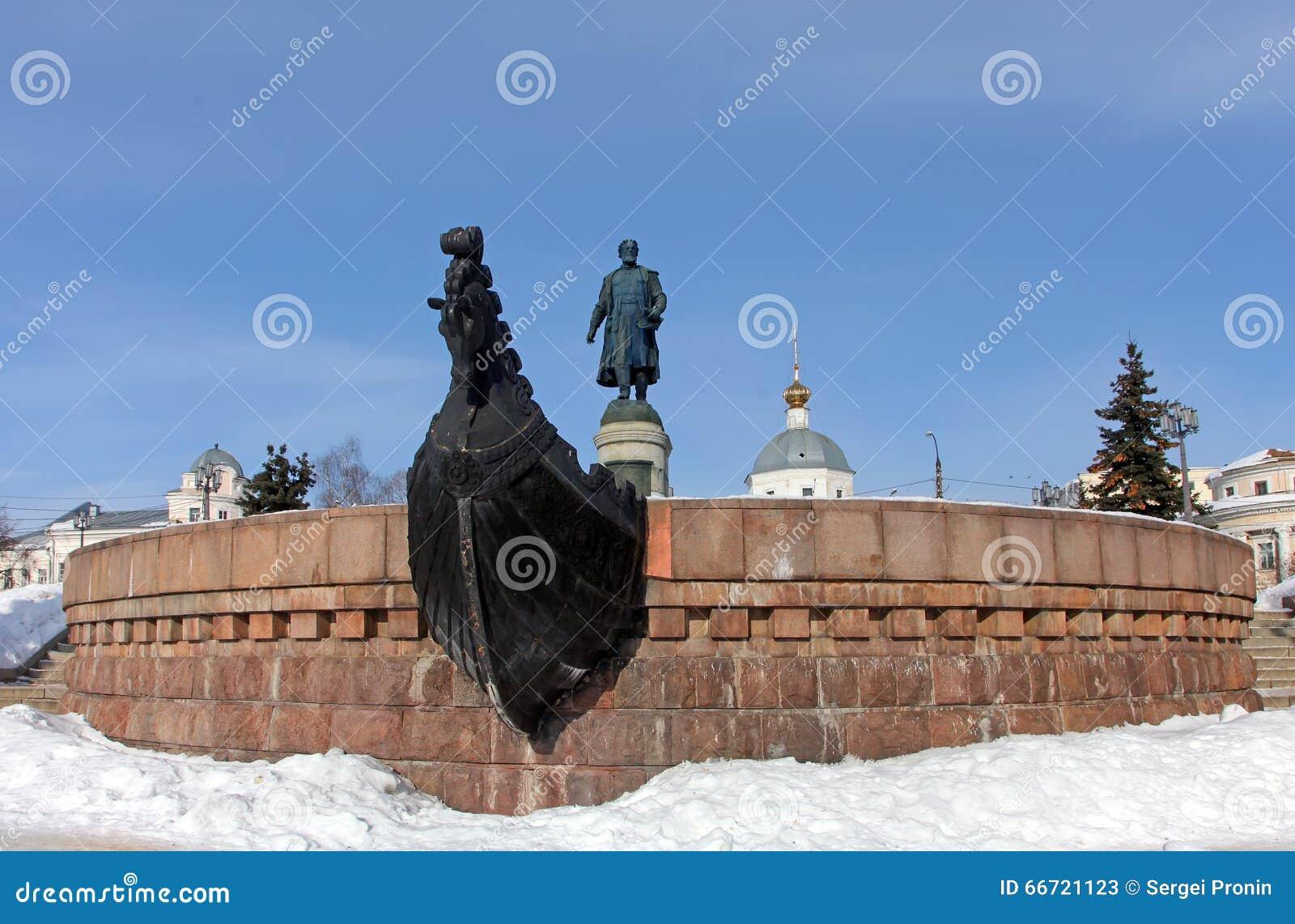 TVER, RUSIA - 22 de febrero: Monumento a Afanasy Nikitin - russ