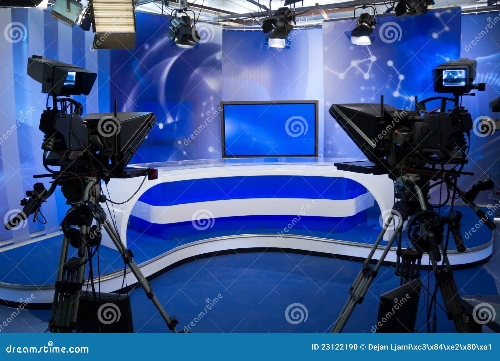 TVstudio med kameran och lampor