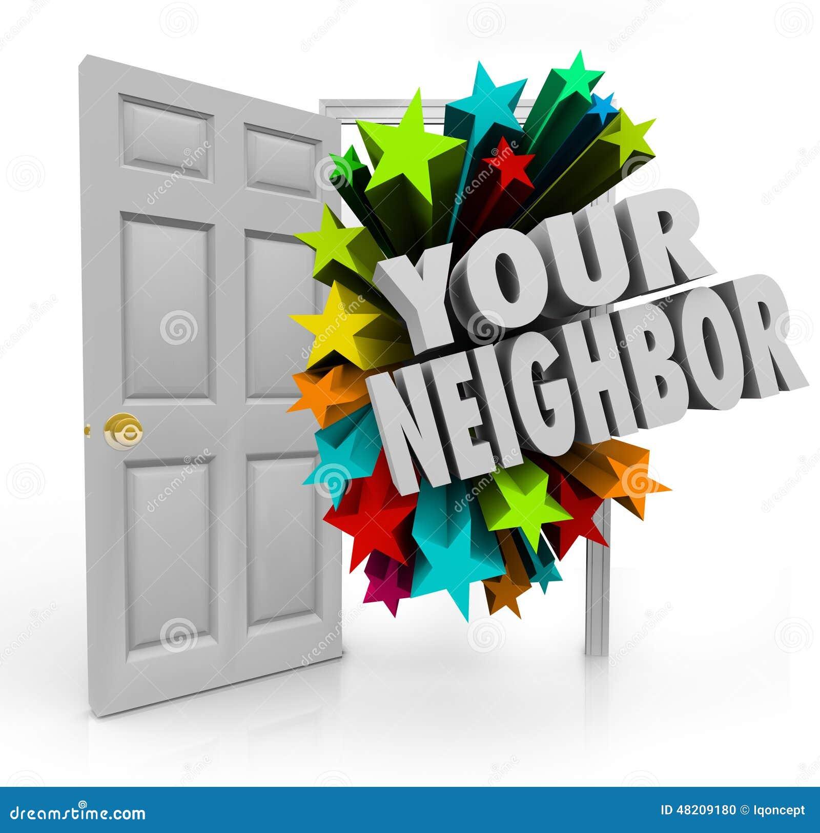 Twój Sąsiedni otwarte drzwi społeczności spotkanie Przedstawia ludzi Następnego Doo