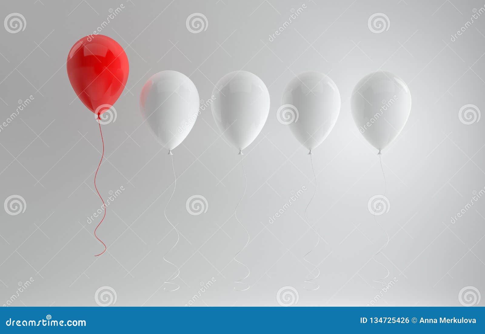 Twórczość lub być różni, stoimy za tłumu pojęciu od Spławowi czerwieni i białych glansowani balony na białym tle z