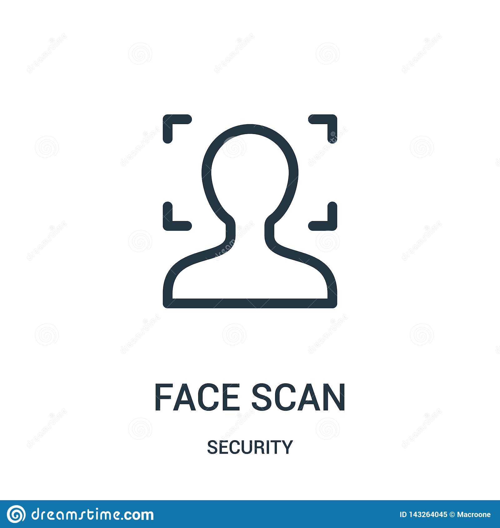Twarz obrazu cyfrowego ikony wektor od ochrony kolekcji Cienka kreskowa twarz obrazu cyfrowego konturu ikony wektoru ilustracja