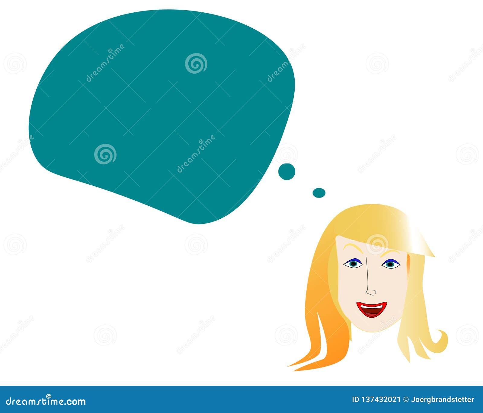 Twarz uśmiechnięta kobieta z umysłu bąblem