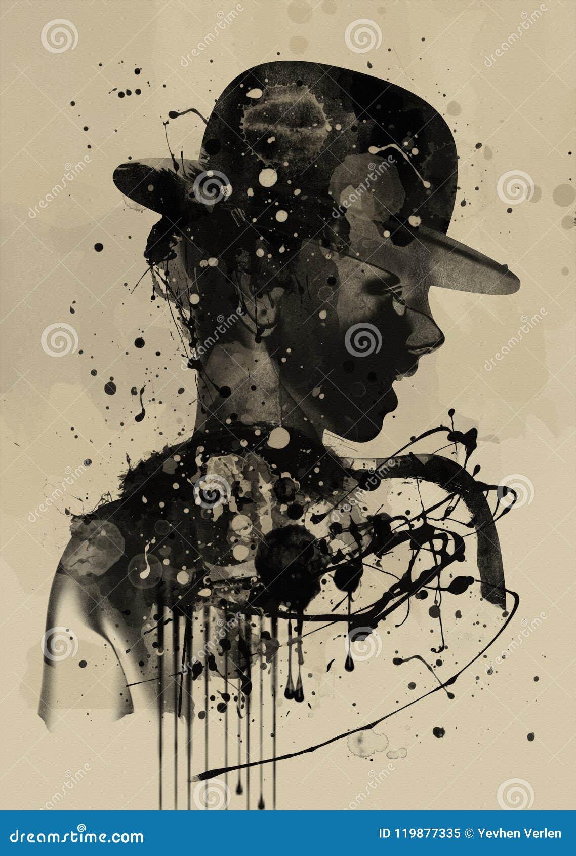 Twarzy abstrakcjonistyczna kobieta Grunge moda