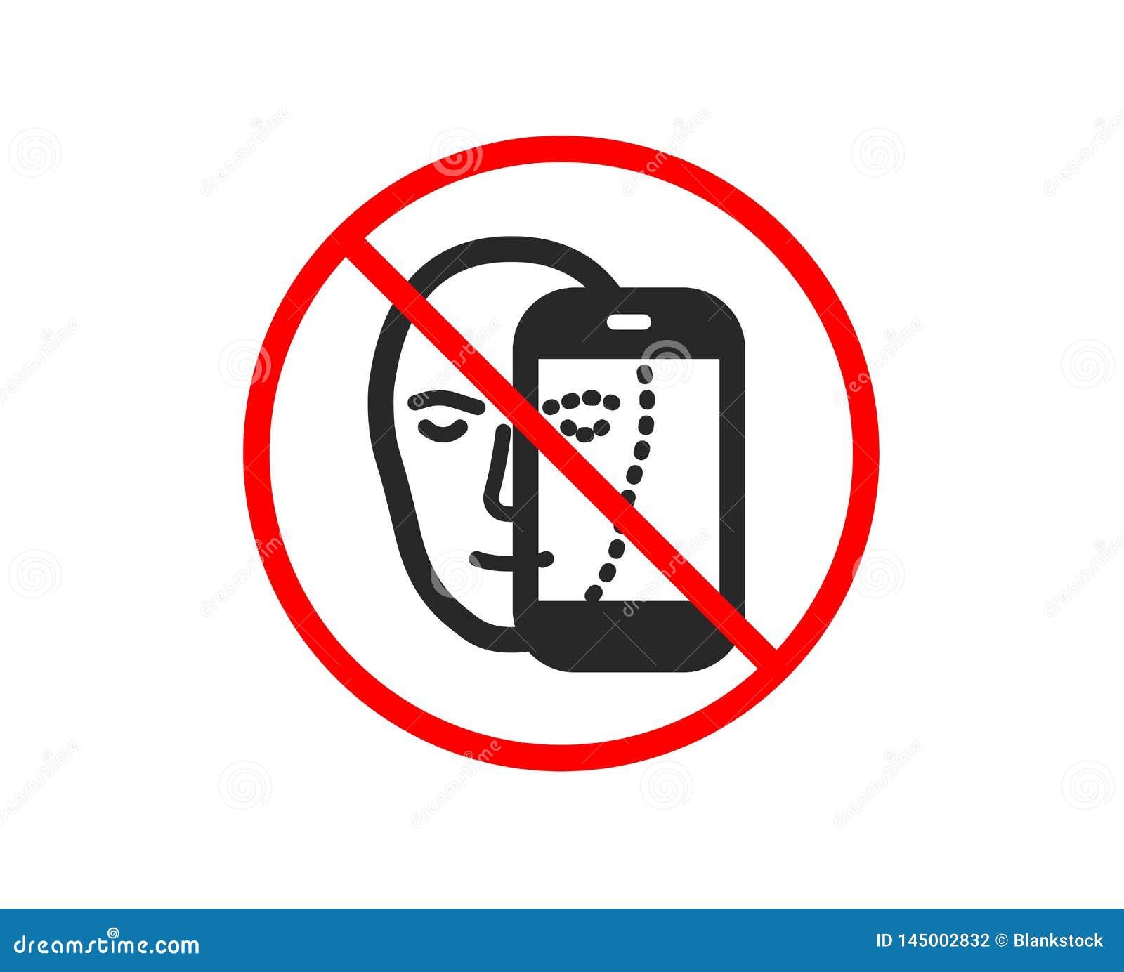 Twarzy biometrii ikona Twarzowy rozpoznanie telefonu znakiem wektor