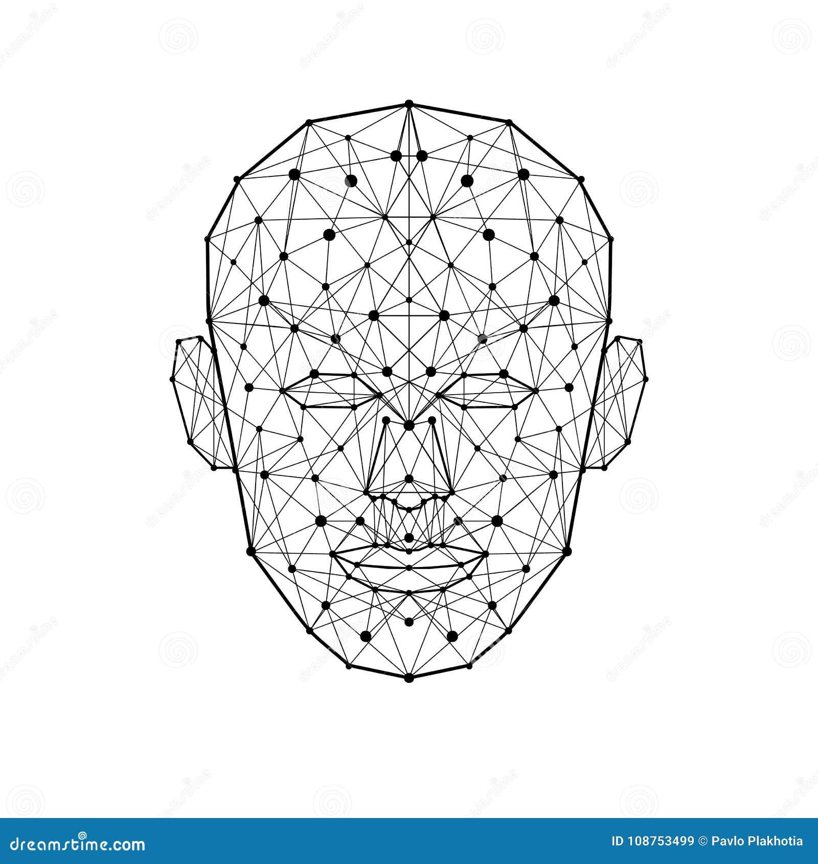 Twarzy ludzkiej depresji wielobok Wireframe brei głowy kształt odizolowywający na białym tle również zwrócić corel ilustracji wek