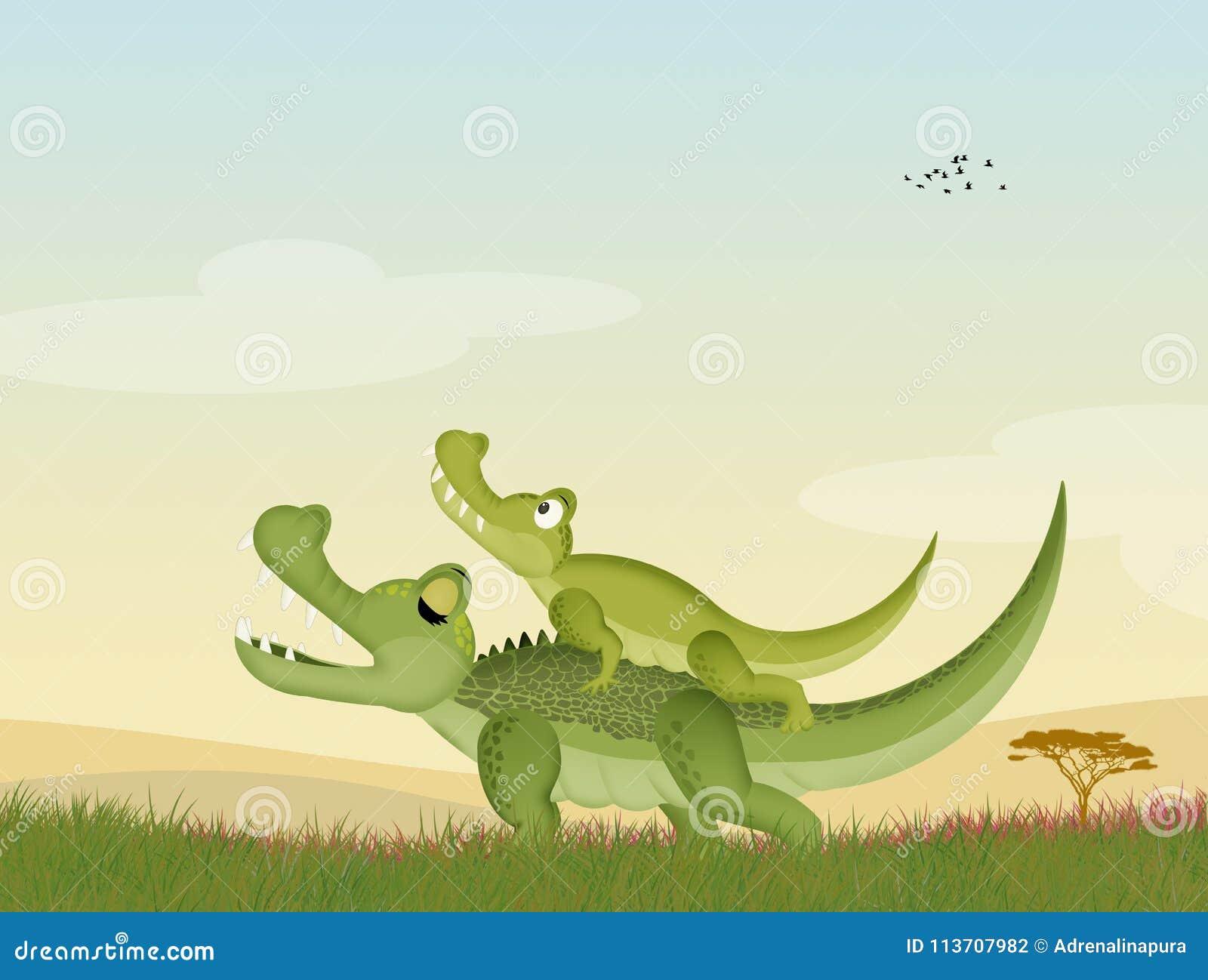 Twee alligators in het gras