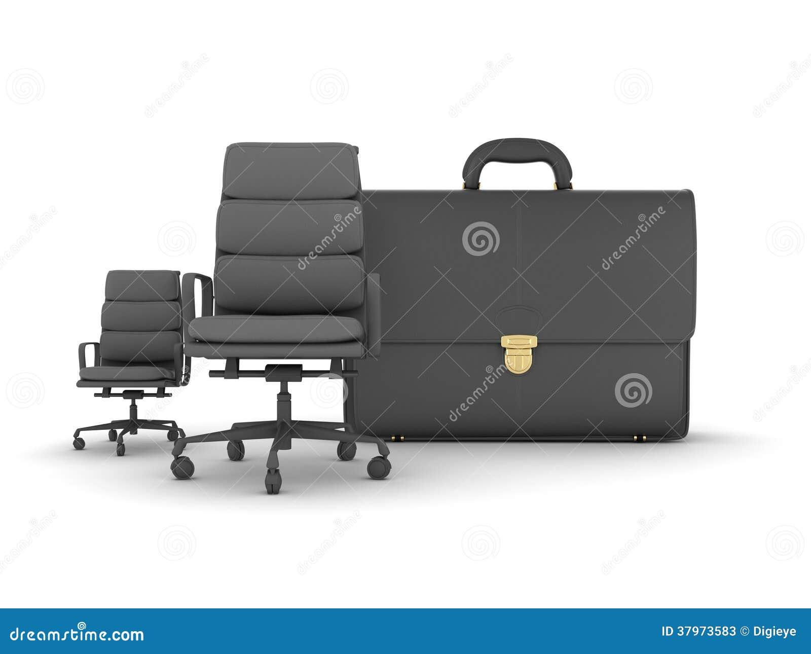 Twee bedrijfsstoelen en leeraktentas