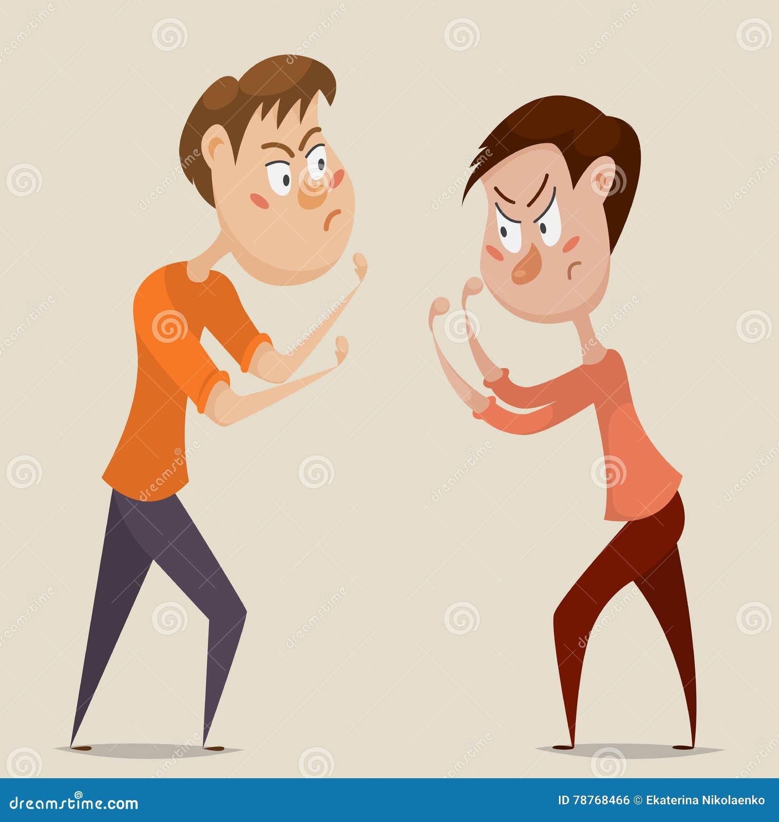 Twee boze mensenruzie en strijd Emotioneel concept agressie en conflict