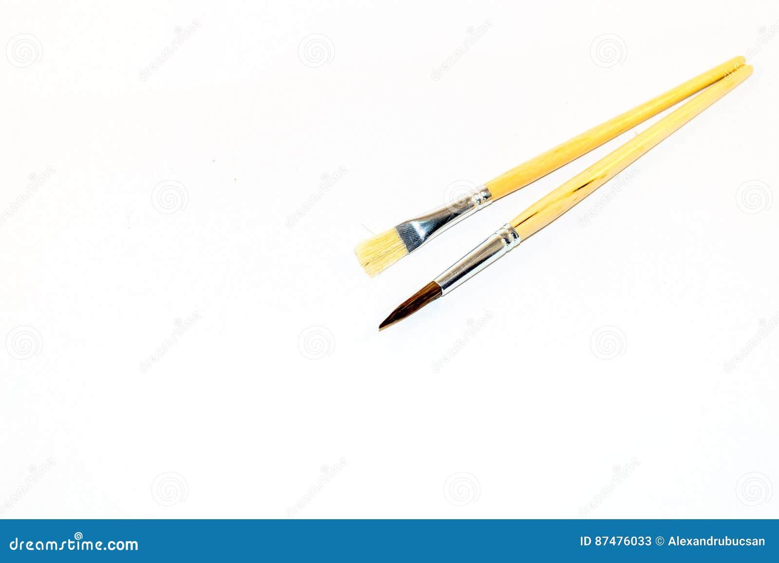 Twee die penselen op een witte achtergrond worden geïsoleerd